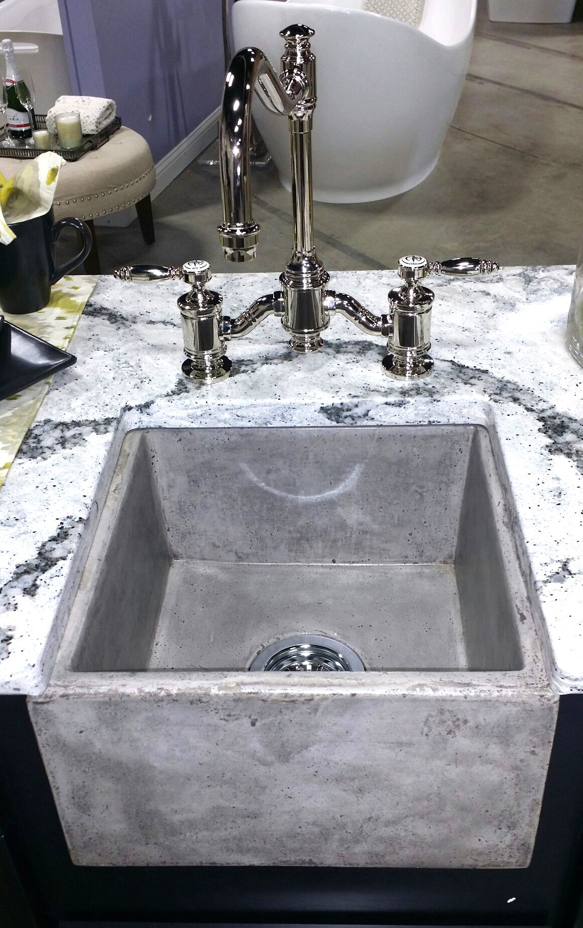 Concrete Sink With Our Annapolis Bridge Faucet 6200 In Polished