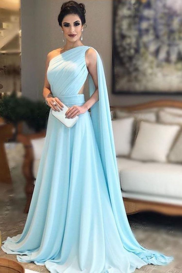 Light blue one shoulder chiffon formal dresses pleats sheer illusion