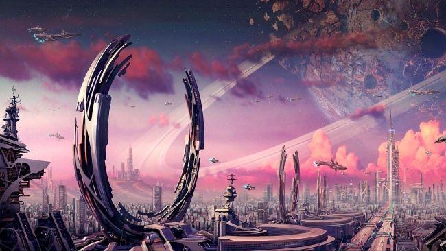 Download 1920x1080 Hd Wallpaper Futuristic Town Sattelite Portal Gate Spaceship Cloud Desktop Backgrounds Hd Futuristic City Fantasy City Fantasy Landscape