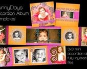 MOCHA LATTE Accordion Album Templates for Photographers - Photoshop Files Perfect for any occasion 3x3 inch BROWN with damask accents. $8.00, via Etsy.