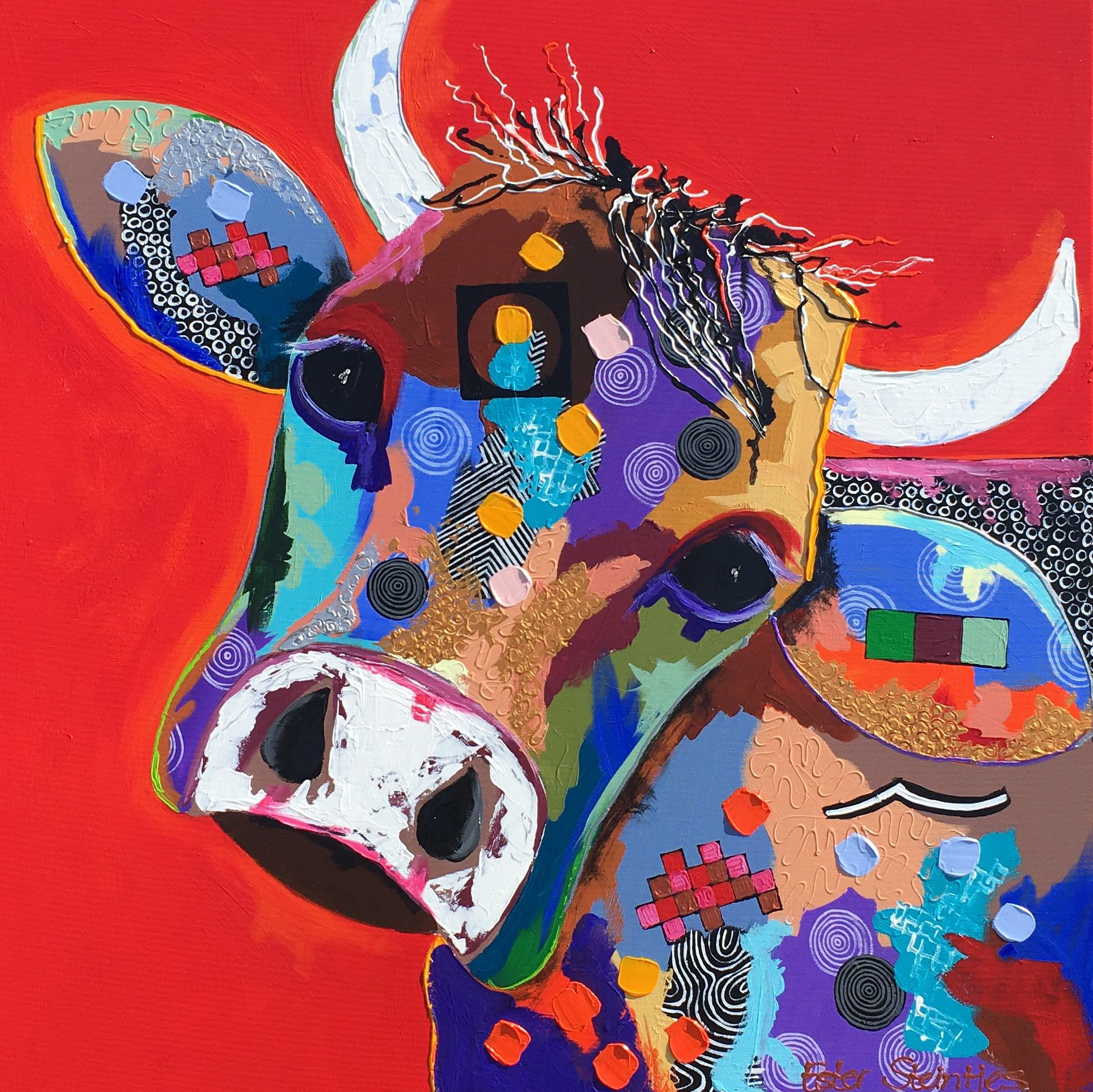 Kuh Malen Quothannah Quot Acrylic On Canvas Size 80x80 Cows Pinterest