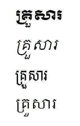 Family Written In Khmer Different Font Styles