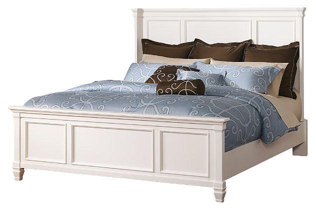 Base Et Tete De Lit King 150 00 Legerement Endommage Collection Prentice White Tete De Lit Et Base Bedroom Panel White King Panel Bed Queen Panel Beds