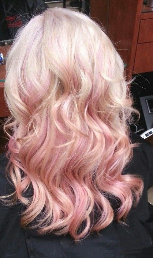 Pink Highlights In Blonde Hair Hair That I Wish I Had Pinterest