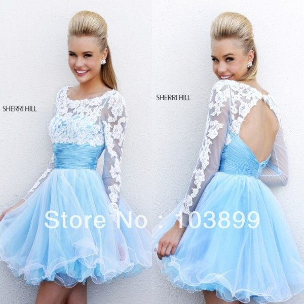 Long Sleeve Mini Blue Prom Dresses Evening Party Ball Gown Short ...