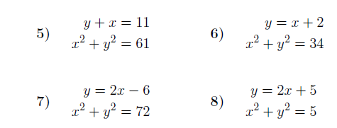 Simultaneous Equations One Linear One Quadratic Worksheet With