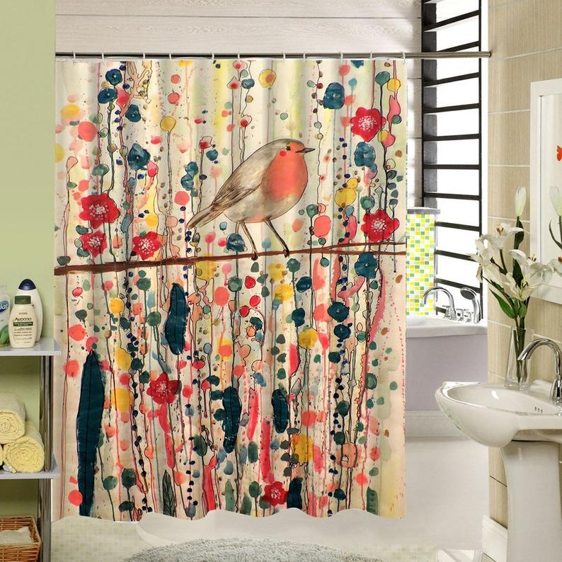 Bird Shower Curtain Colorful Watercolor Floral Shower Curtain