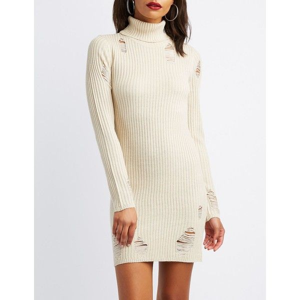 Charlotte Russe Destroyed Turtle Neck Sweater Dress ( 25) ❤ liked on Polyvore  featuring dresses 4abd5d940