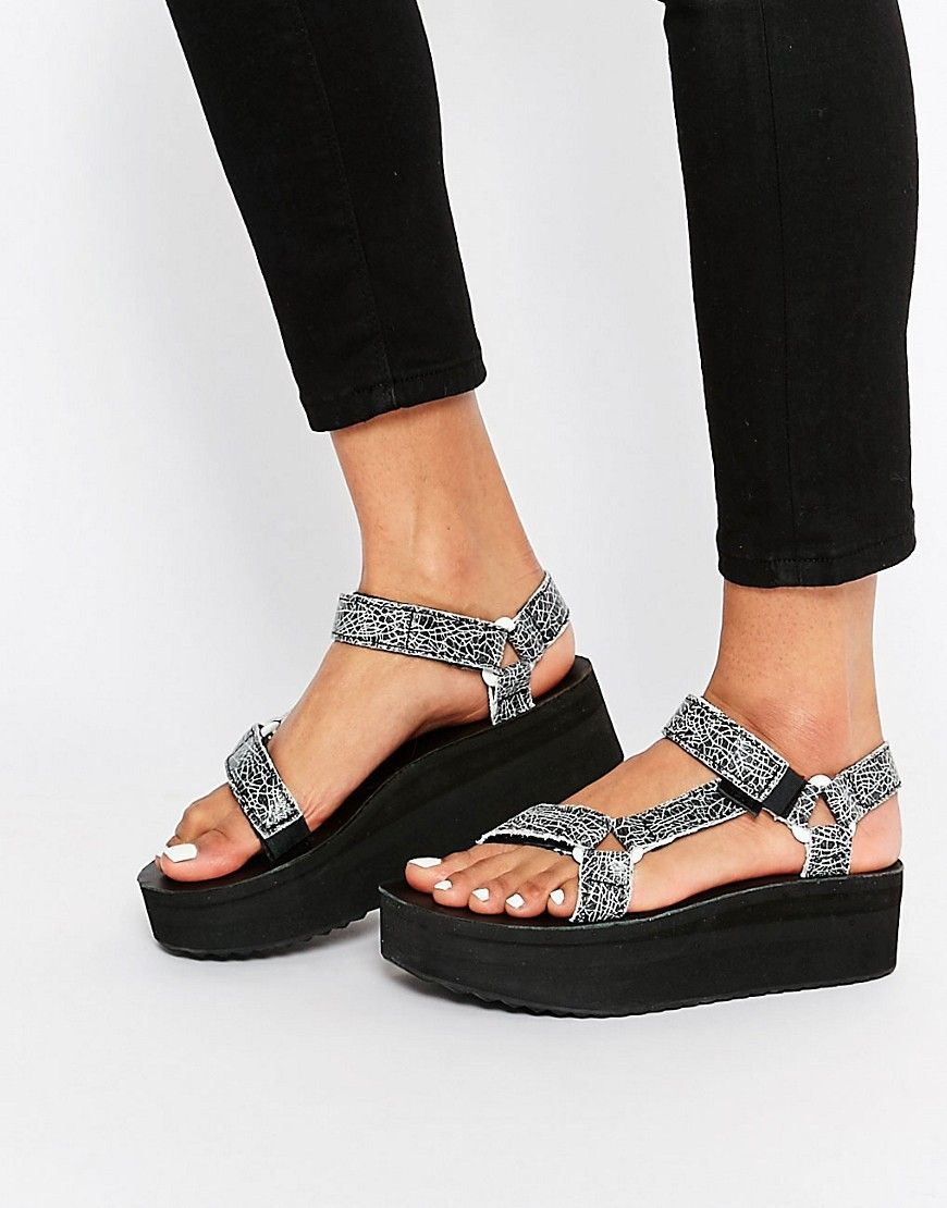 Image 1 of Teva Flatform Universal Crackle Black Sandals