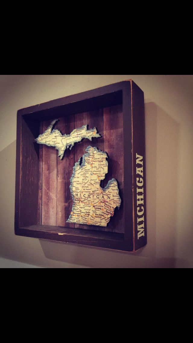 Michigan Map Shadow Box Found At Meijer Should Be Easy Enough To