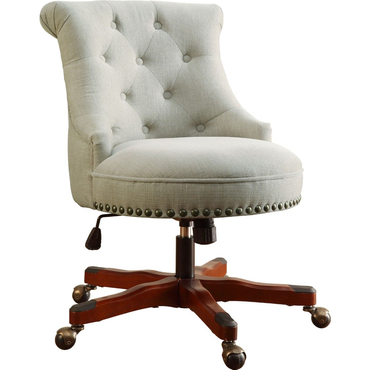 linon sinclair office chair in tufted natural fabric w/ dark