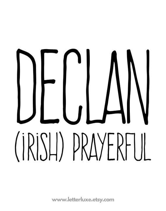 Declan Name Meaning Printable Nursery Art Christian Baby Shower Gift Inspirat...