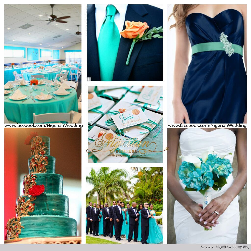 Nigerian Wedding Cyan Aqua Blue And Navy Color Scheme Jpg