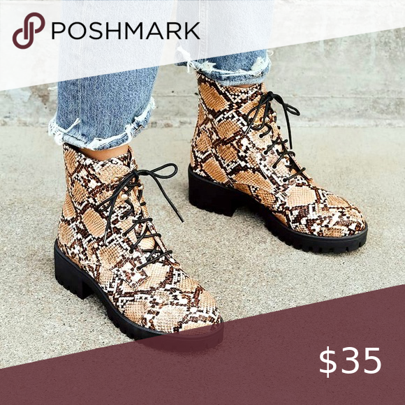 Tan Snake Print Lace-Up Ankle Boots Spotted while