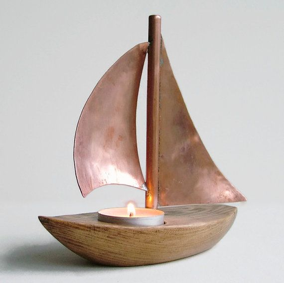 Photo of Copper Boat Candle Holder, Copper Candle Holder, Wooden Candle Holder, Nautical Decor, Wooden Tea Light, Sailing Boat, Yacht Candle Holder