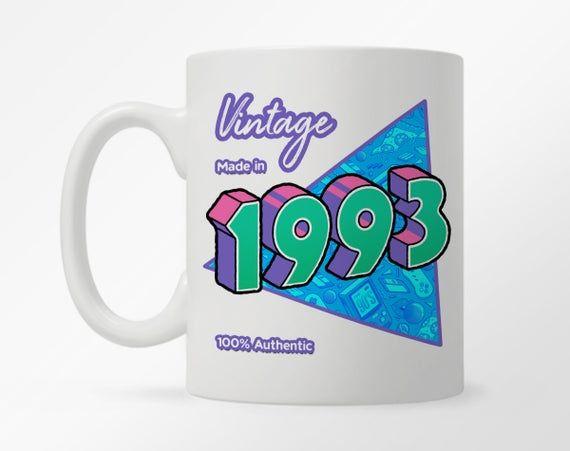 Custom Birth Year 1990's Retro Coffee Mug, 90's Child Birthday Year Mug, Born in the 90's Mug, 30th