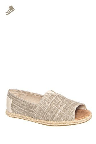 3f6e27403b7 TOMS Women s Alpargata Open Toe Natural Metallic Linen Flat 6.5 B (M) - Toms  flats for women ( Amazon Partner-Link)