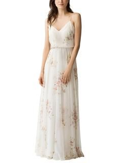 180d0418c1f96 Description Jenny Yoo Adeline Print Full length floral printed bridesmaid  dress Sweetheart neckline Natural waist Flat front and full A line skirt  Luxe ...