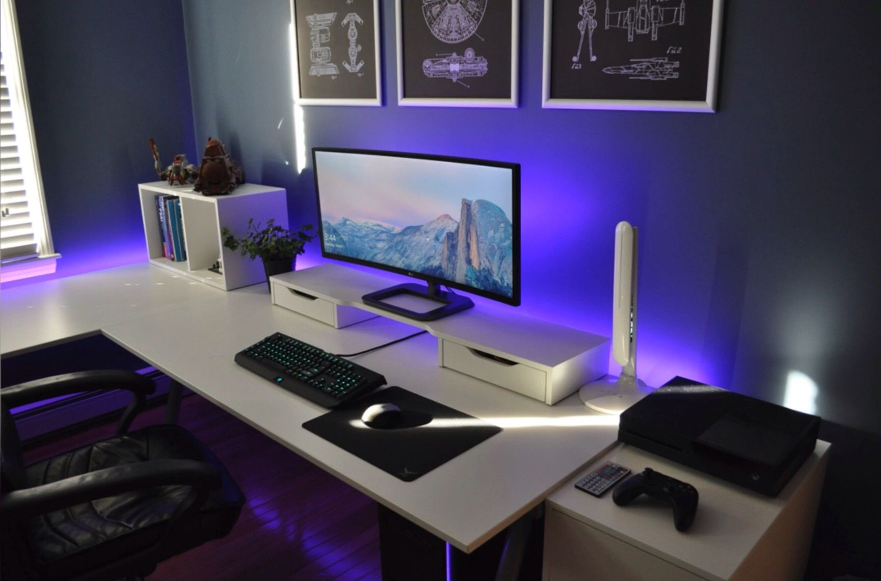 single monitor setup gaming setup pinterest gaming schreibtisch gebetsraum und schreibtische. Black Bedroom Furniture Sets. Home Design Ideas