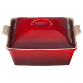 """Square stoneware casserole with a lid in cherry. Dishwasher and oven safe.  Product: Casserole and lidConstruction Material: StonewareColor: CherryFeatures:  Maintains even temperatures and prevents scorching2.5 Quart capacity Dimensions: 6"""" H x 11"""" W x 10"""" DNote: Microwave, freezer, refrigerator, dishwasher, oven and broiler safe"""