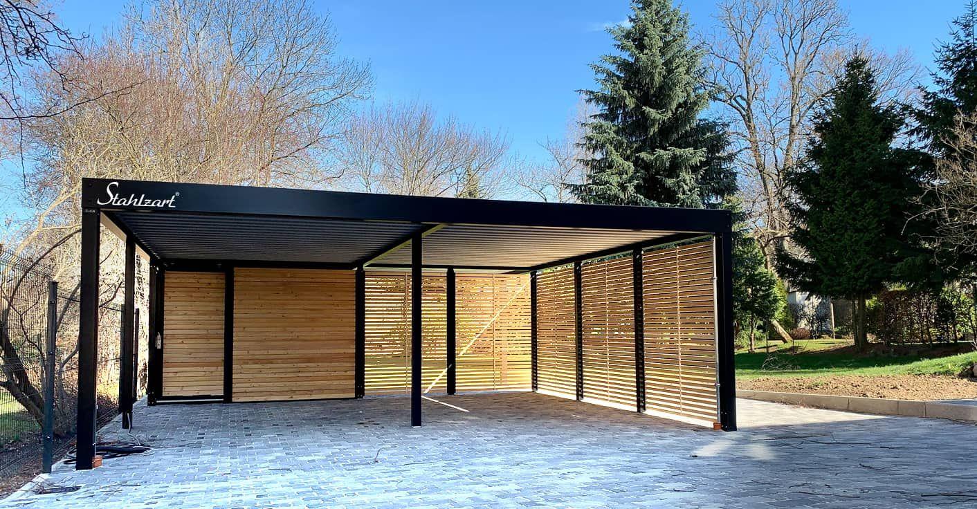 Doppel Carport Holz Metall modern Sachsen · Abstellraum