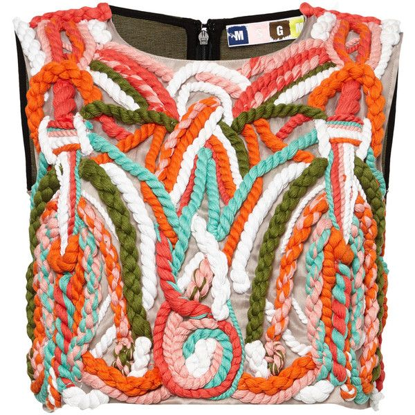 MSGM Cord Embroidered Faille Top (€630) ❤ liked on Polyvore
