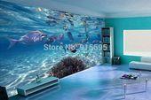 3D wallpaper bedroom mural modern underwater world TV background wall  3DWall 3dwall