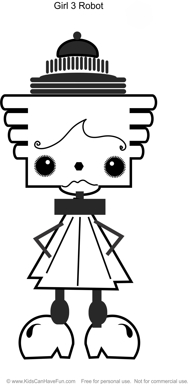 Robot Girl 3 coloring page http://www.kidscanhavefun.com/robot ...