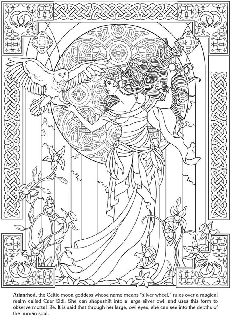 arianrhod celtic goddess coloring pages for adults fantasy