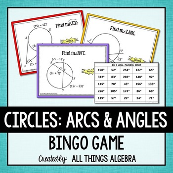 Arc and Angle Measures in Circles Bingo | School Stuff