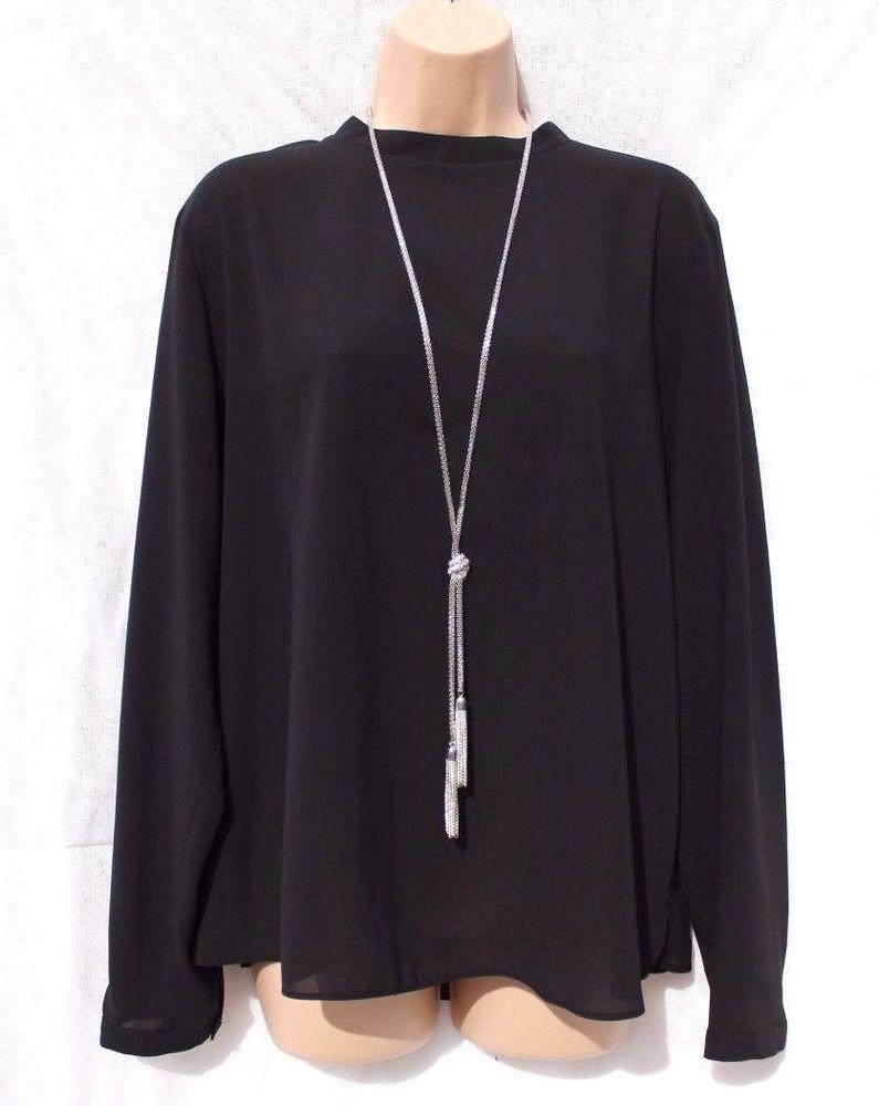 New Black Chiffon ATMOSPHERE Long Sleeve Loose Ladies Women's ...