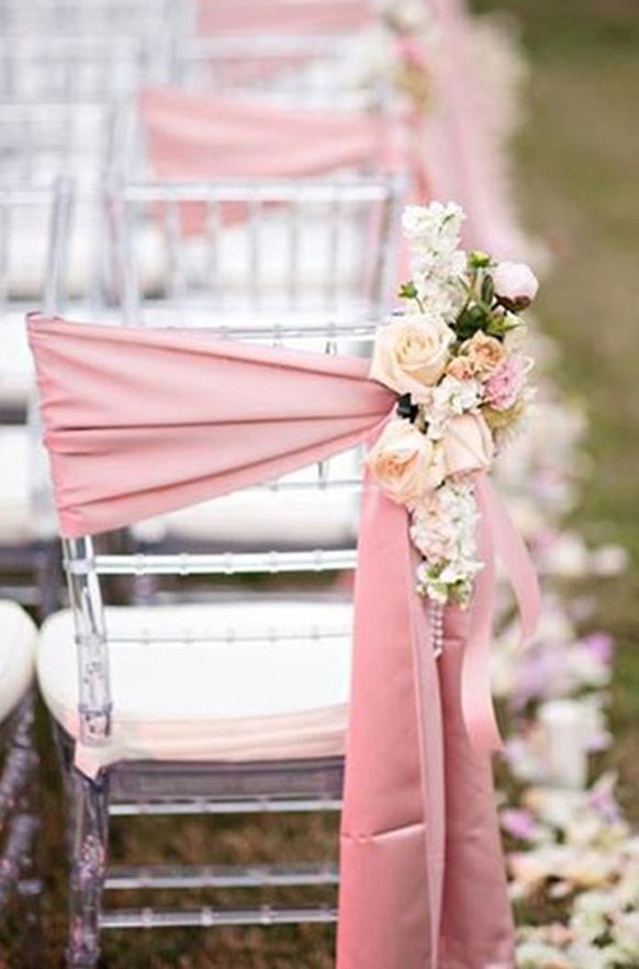 12 Beautifully Draped Fabric Wedding Chair Ideas Wedding Chair Sashes Wedding Chairs Wedding Decorations