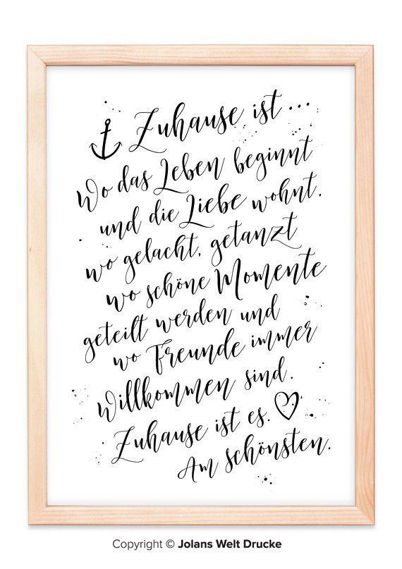 Zuhause Ist Von Jolanswelt Kunstdrucke Familie Spruch
