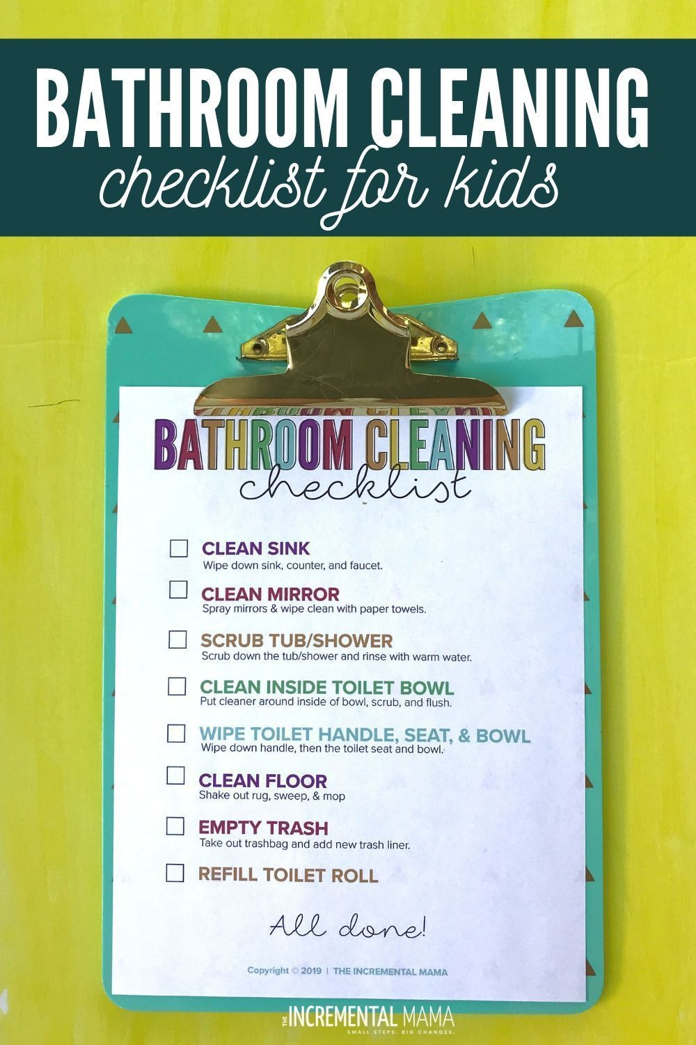 Bathroom Cleaning Checklist for Kids | Cleaning checklist ...