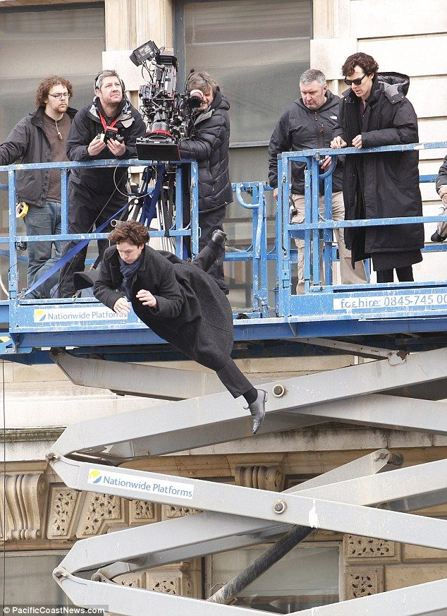 Benedict Cumberbatch recreates the fatal leap from Sherlocks series two finale for new episodes