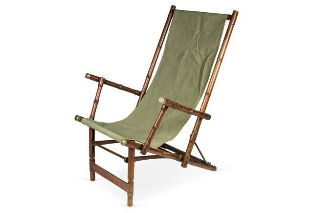 Antique Faux-Bamboo Folding Chair