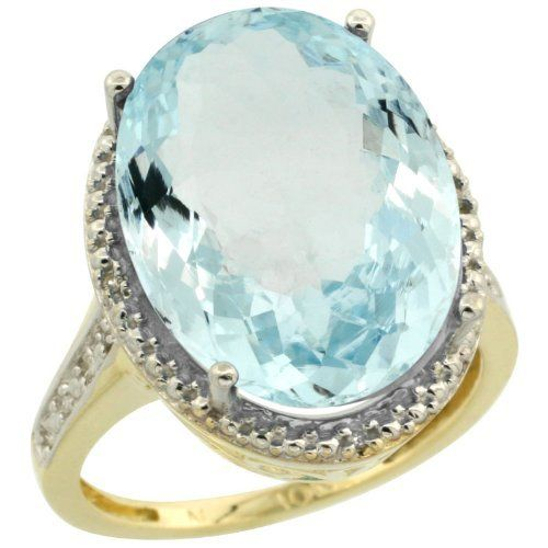Ring News: vintage engagement ring * 14k Gold ( 18x13 mm ) Large Halo Engagement Aquamarine Ring w/ 0.04 Carat Brilliant Cut Diamonds & 12.6...hahahaha like its massive. maybe a 13 carat aqua stone isnt such a bad idea...