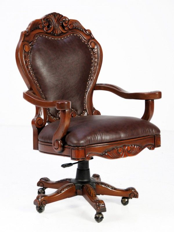 157 A Decorative Rolling Wood Carved Office Chair