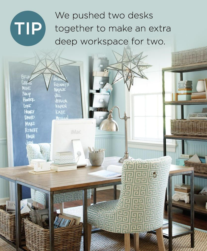 7 Tips For Home Office Lighting Ideas: Instead Of Buying One Large Desk, Push Two Together To