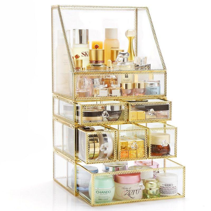 Large Gold Grass Makeup Organizer Drawer Storage Box Metal Gold
