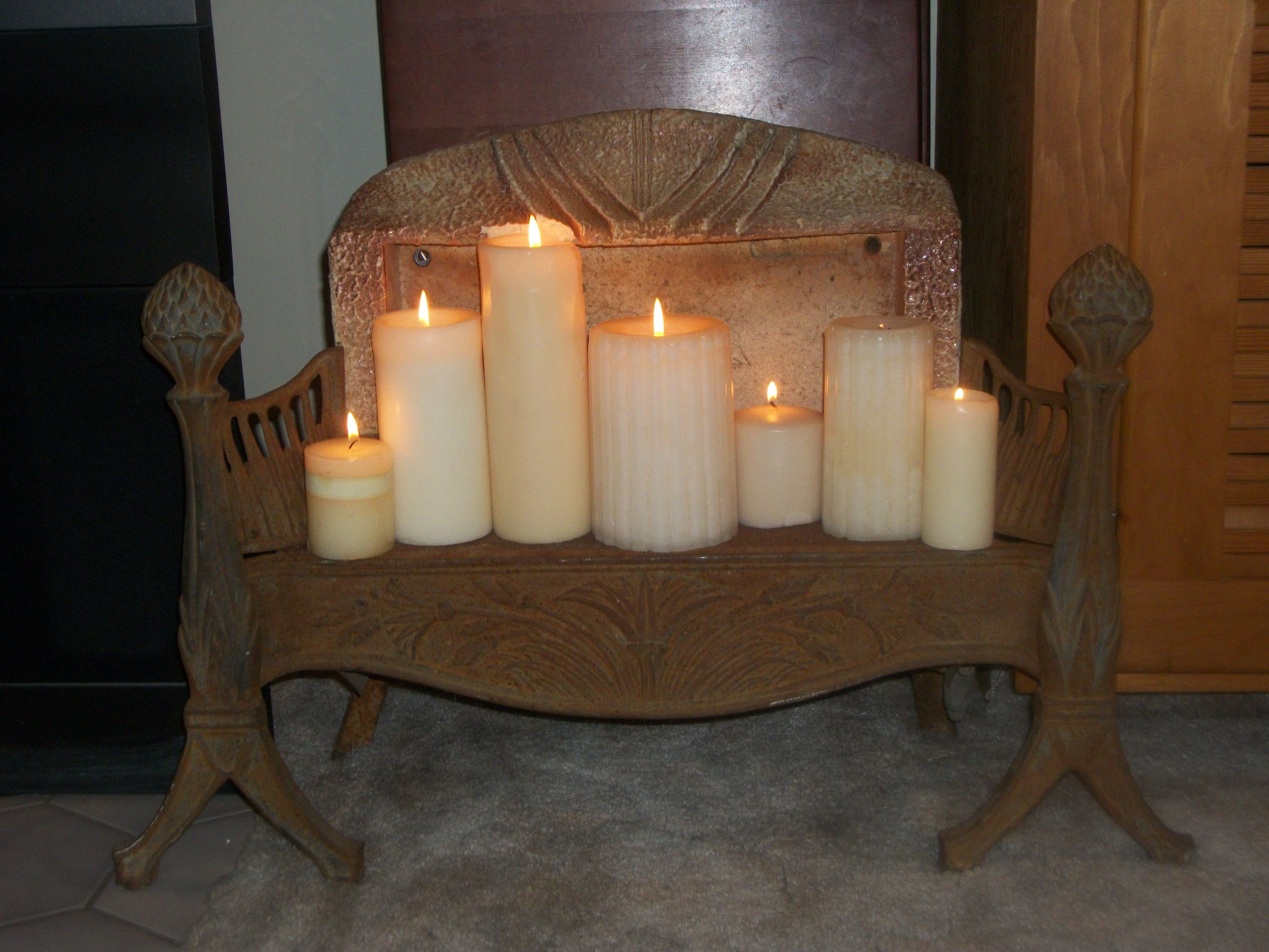 Old Space Heater Repurposed Into Candle Holder My