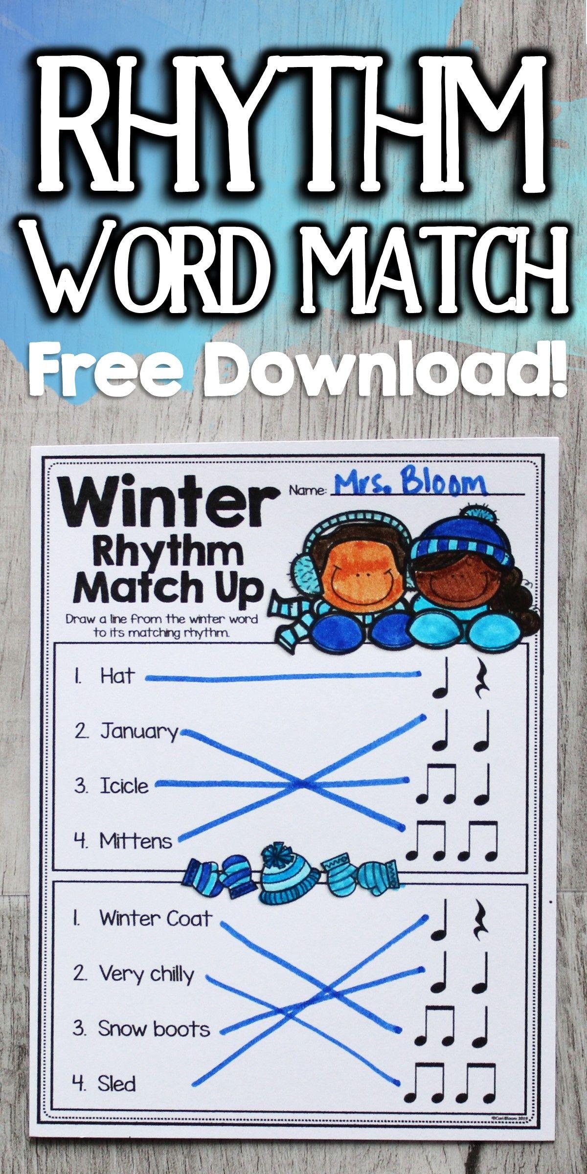 Rhythm Worksheets Rhythm Word Match