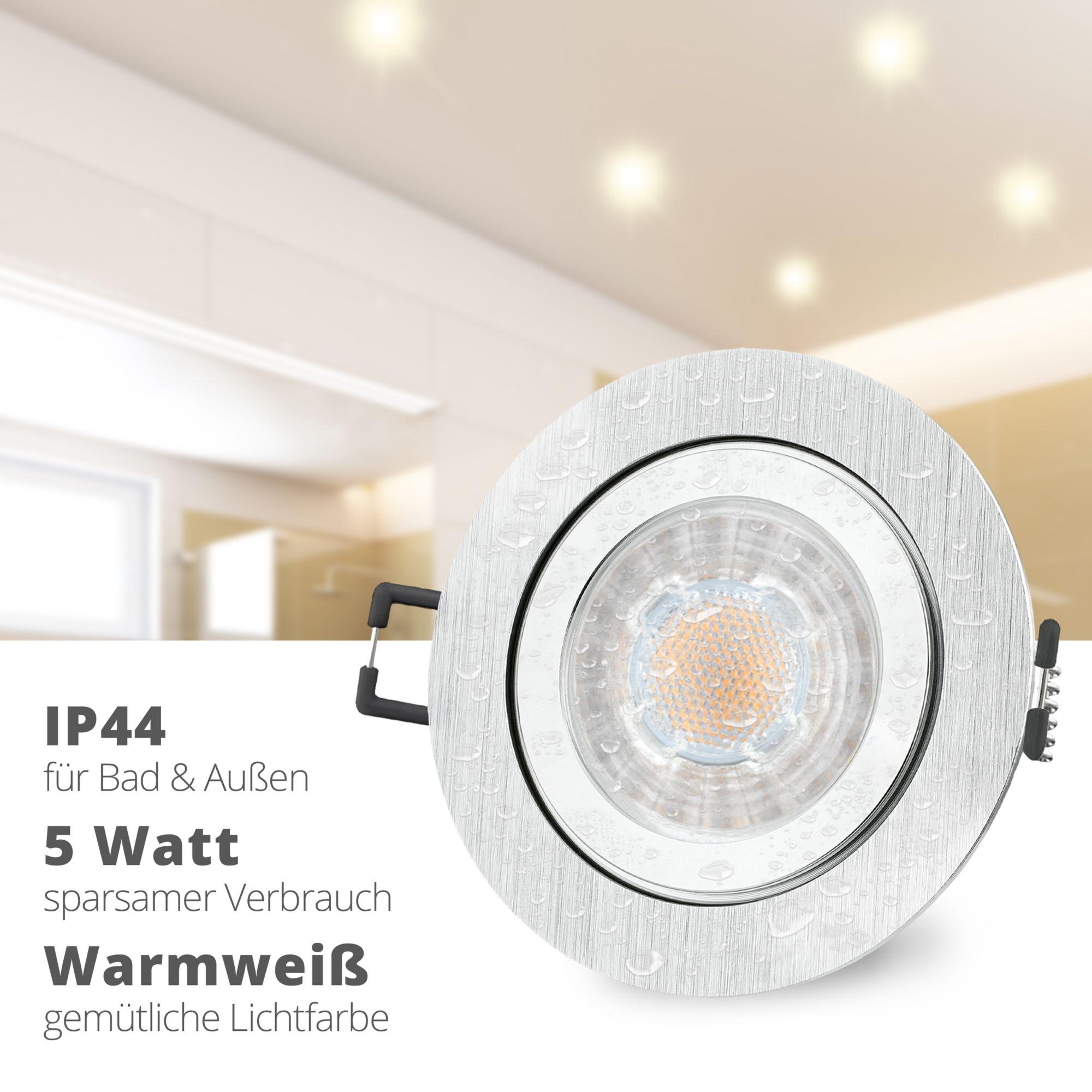 Ip44 Led Einbaustrahler Set Extra Flach 35mm In Weiss Mit Led Markenleuchtmittel Von Ledando 6w D Led Einbaustrahler Einbaustrahler Led
