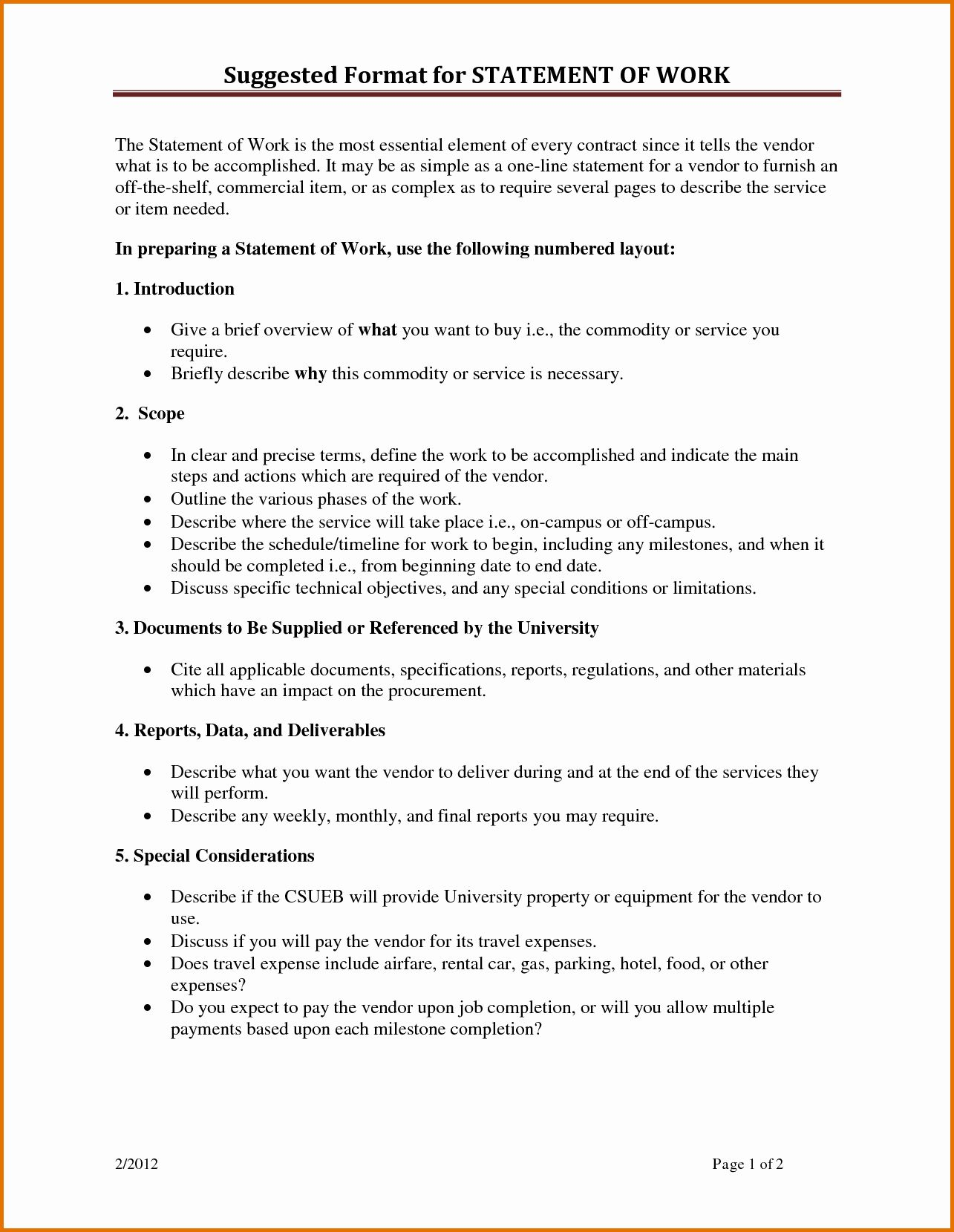 Simple Statement Of Work Template Awesome 8 Statement Of