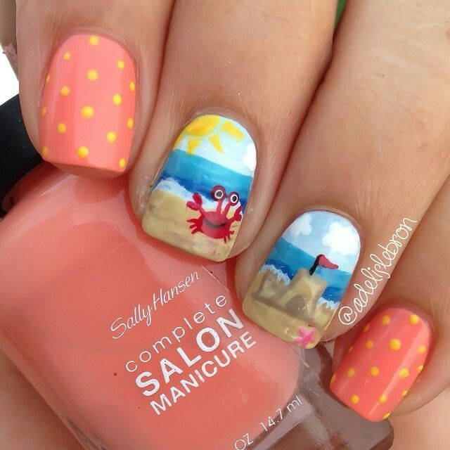 Beach Inspired Nails | Cruise nails, Beach nails