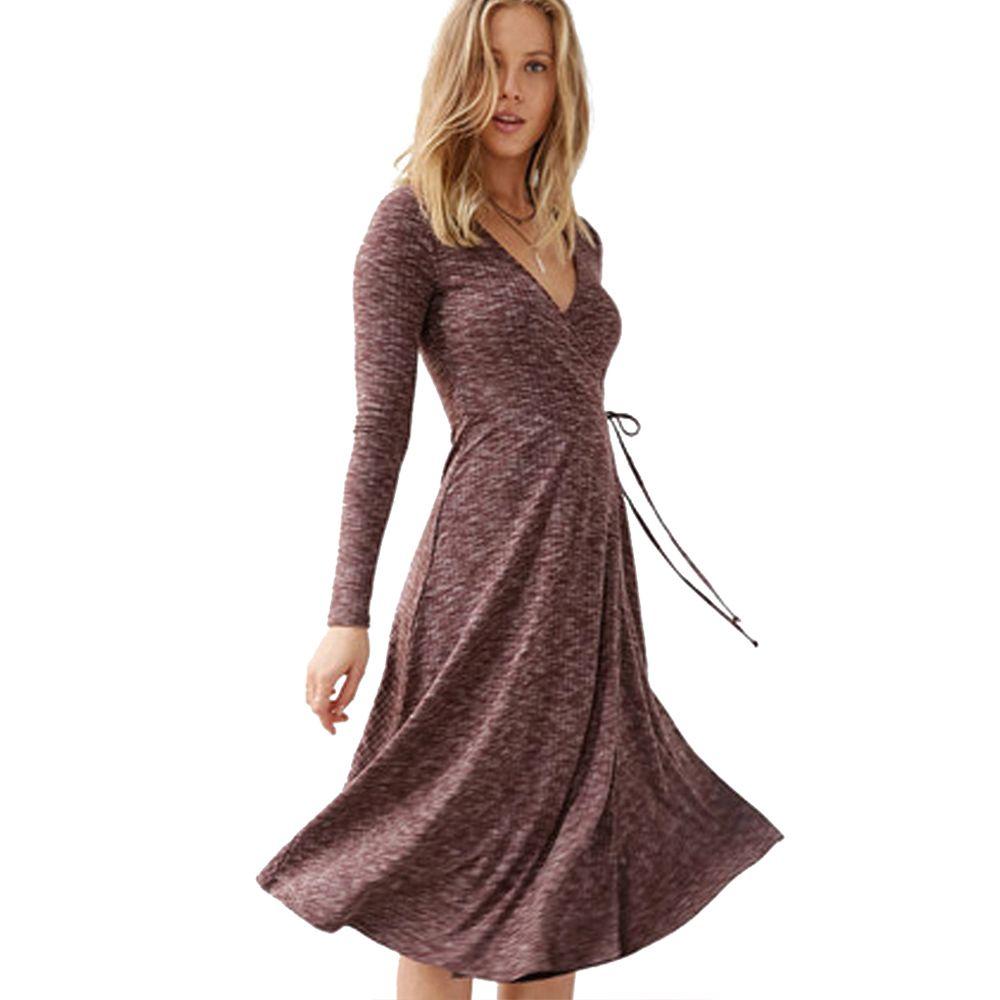 Click to buy ucuc deep v neck elegant dresses women wrap high waist a