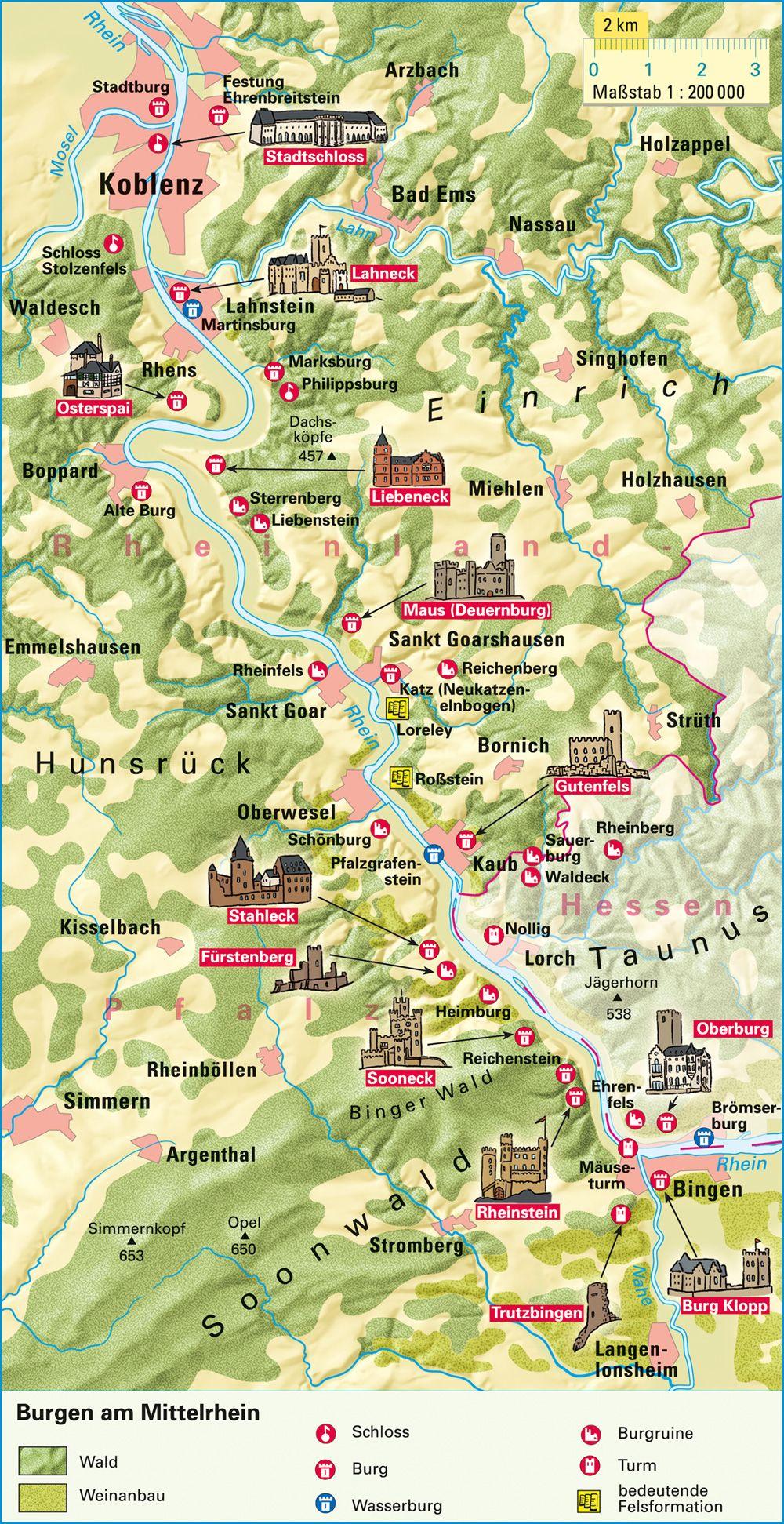 Mittelrheintal Karte.Burgen Am Mittelrhein Misc In 2019 Mittelrhein Schloss