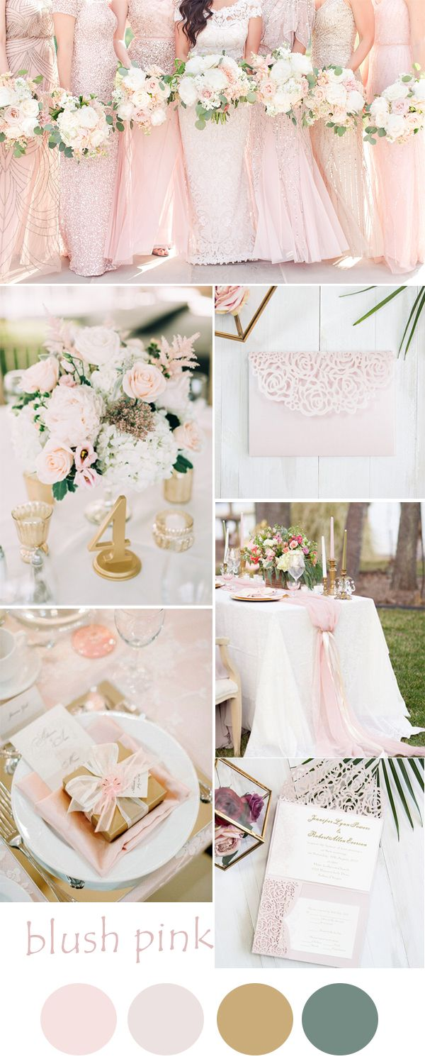 Wedding ideas blush pink  blush pink and gold rose and lace pocket wedding invitations EWWS