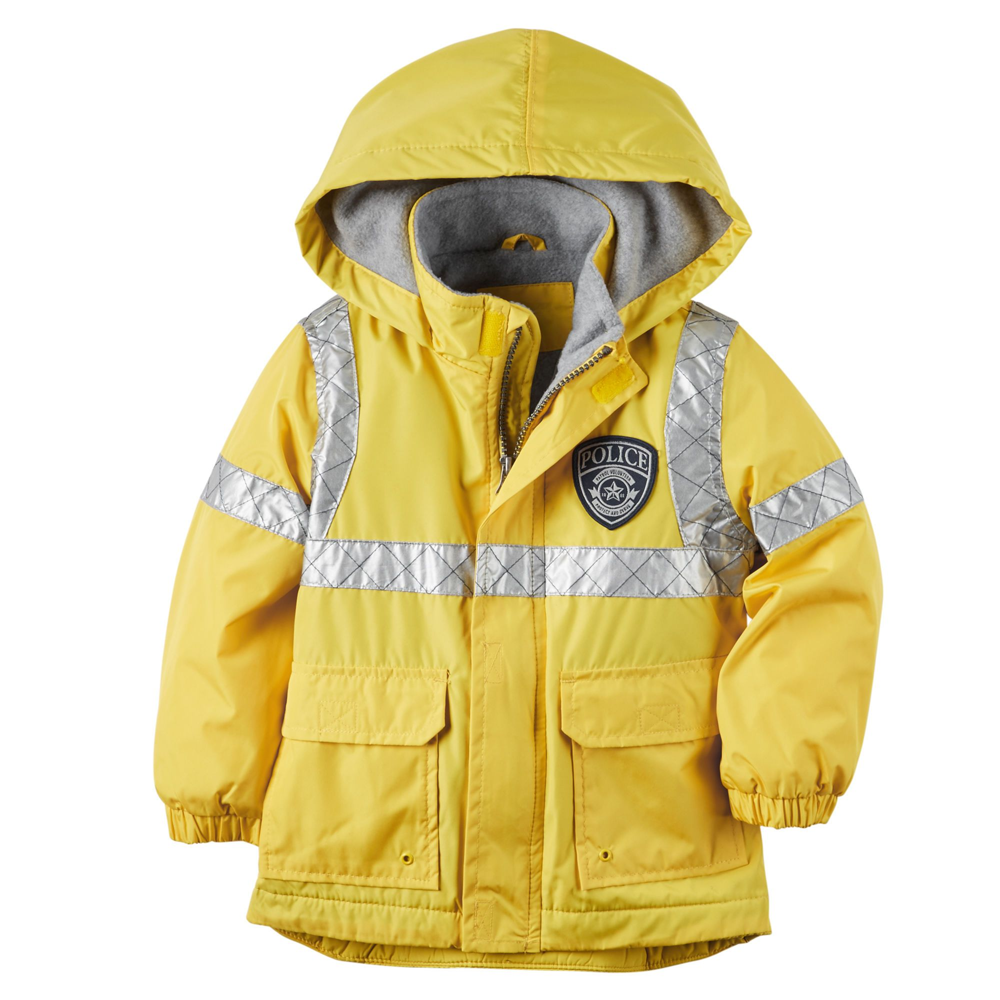 2a1ad8bc4873 Fleece-Lined Police Rain Jacket for kids + yellow raincoat with ...