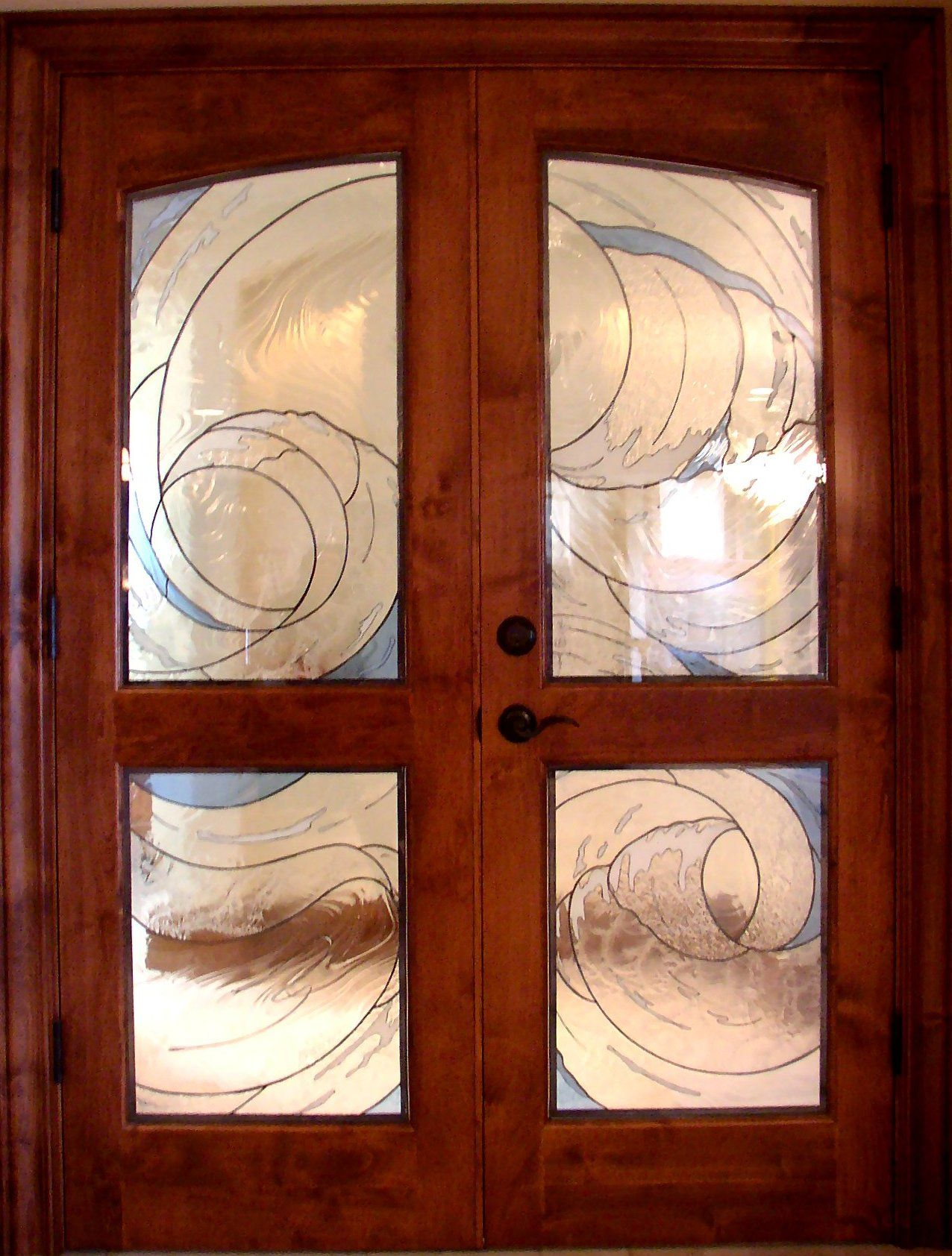 Interior french doors with glass kelley studios stained - Interior french doors with sidelights ...